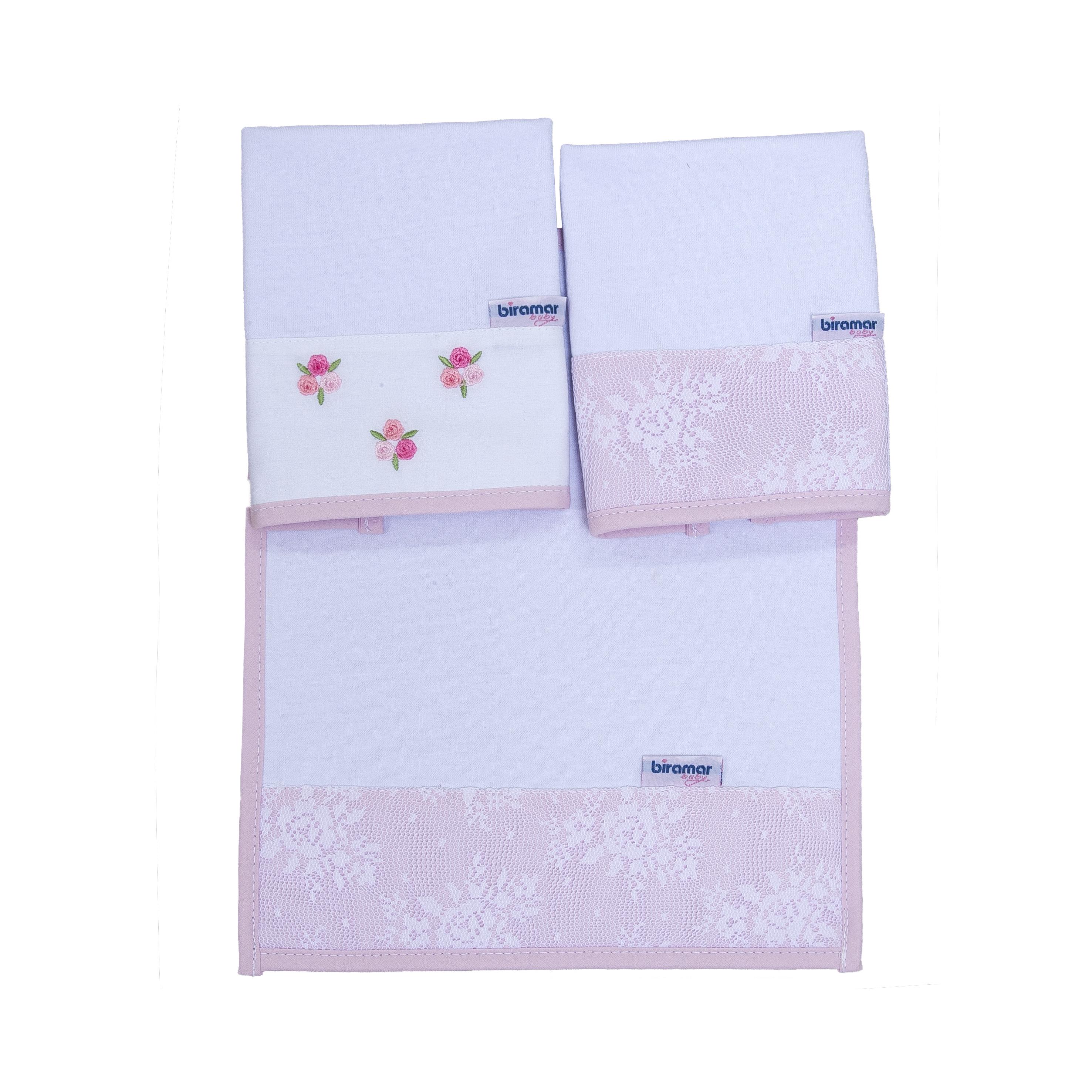 33614-2399 boquinha malha 3 pçs barrado e bordado le jardin rosa